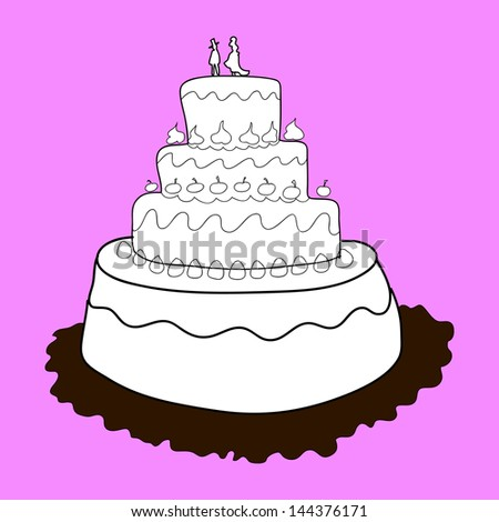 wedding cake cartoon hand-drawn illustration