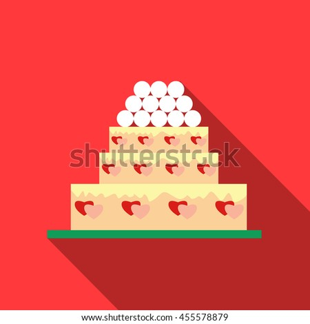 Wedding cake icon in flat style with long shadow. Sweets and pastries symbol