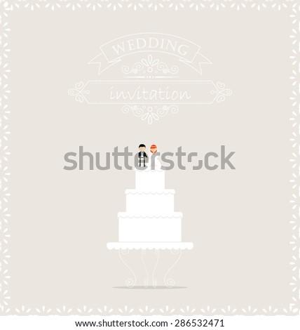 Wedding cake on wedding invitation card - stock vector