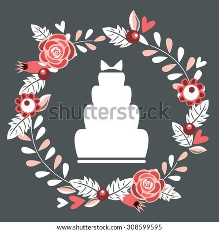 wedding cake with flower wreath - stock vector