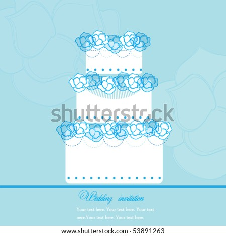 Wedding Cake with roses - stock vector