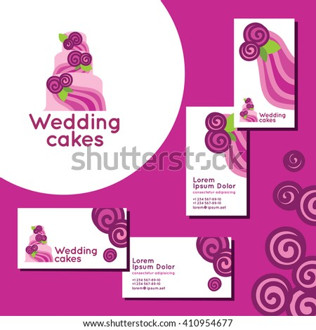 Wedding cakes logo set business cards stock vector 410954677 wedding cakes logo set of business cards for wedding agency reheart Image collections