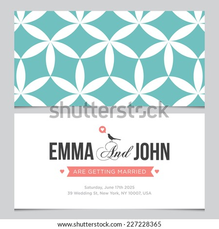 Wedding card back and front with pattern background 03 - stock vector
