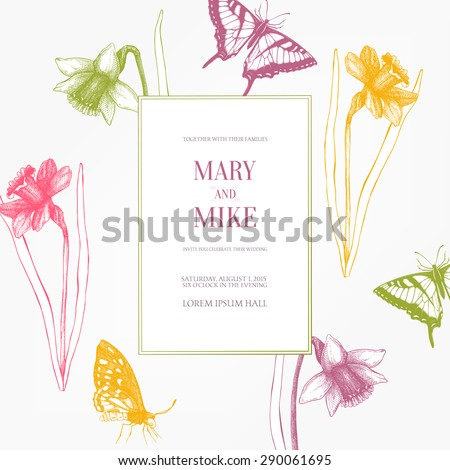 Wedding card design with ink hand drawn  narcissus flowers and butterflies. Spring vintage background with lent lilies and butterflies. Wedding invitation design - stock vector