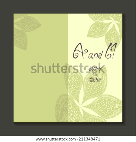 wedding card. floral ornament. handwriting (vertical) green