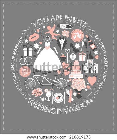 Wedding card invitation. - stock vector