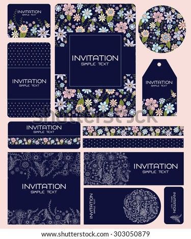 Wedding Card Invitation suite with flower Templates