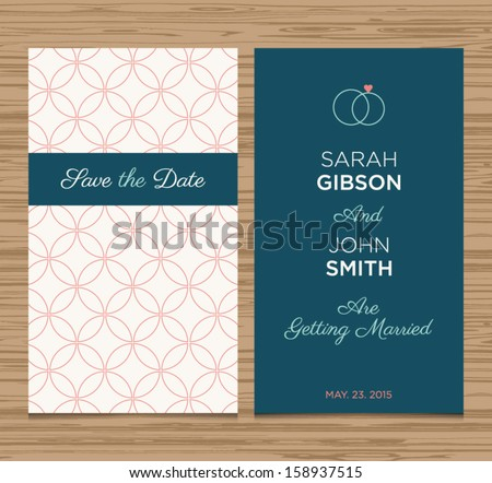 wedding card invitation template editable, pattern background vector design - stock vector