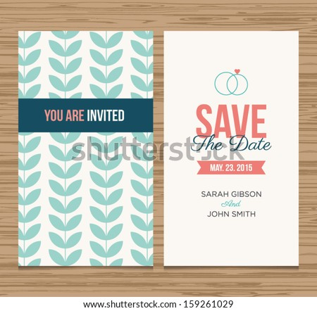 Wedding card invitation template editable, pattern vector design> Save the date card.  - stock vector