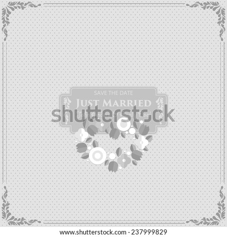 Wedding Card Invitation with wedding bouquet in flat - stock vector