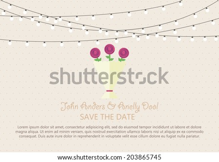 Wedding Card Invitation with wedding bouquet in Vector - stock vector