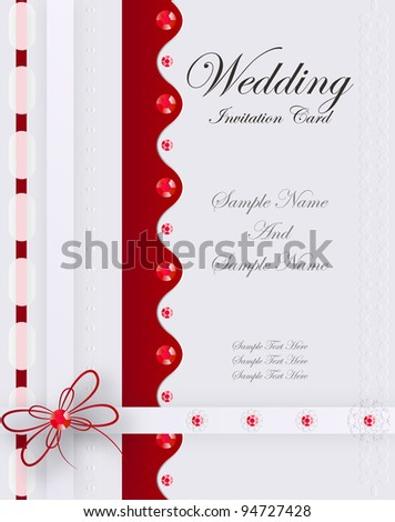 Wedding Card. Jpeg Version Also Available In Gallery. - stock vector