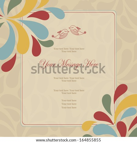 Wedding card or invitation with abstract colorful pattern