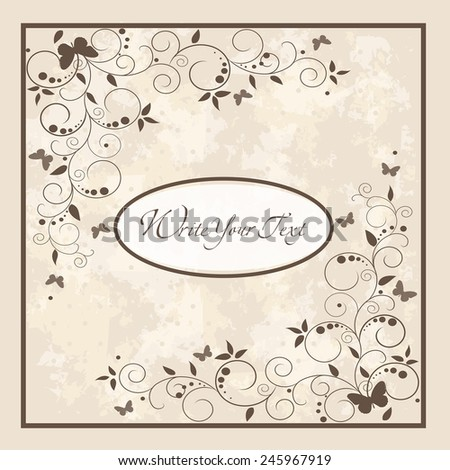 Wedding card or invitation with abstract floral background. Elegance pattern with flowers. Abstract greeting card. Greeting card in grunge or retro style. - stock vector