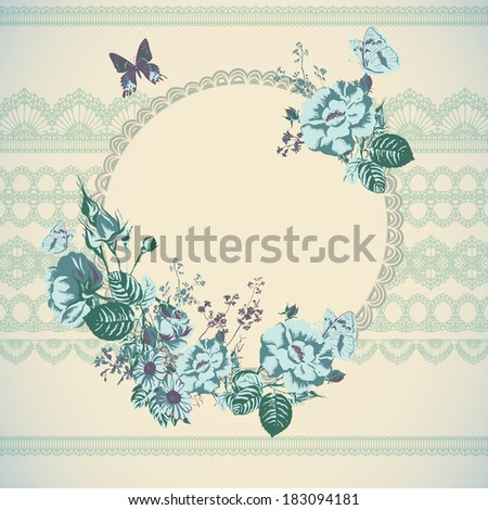 Wedding card or invitation with abstract floral background. Elegance pattern with flowers roses, floral illustration in vintage style Valentine.  - stock vector