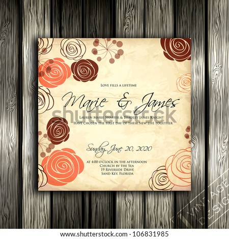 Wedding card or invitation with abstract floral background. Greeting card in grunge or retro style. Elegance pattern with flowers roses, floral illustration in vintage style Valentine. Classic