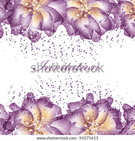 Wedding card or invitation with abstract floral background. Greeting card in grunge or retro style. Elegance pattern with flowers roses, floral illustration in vintage style - stock vector