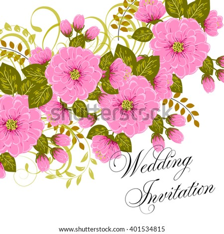 Wedding card or invitation with abstract floral background. Greeting postcard in retro vector Elegance pattern with flowers roses floral illustration vintage style - stock vector