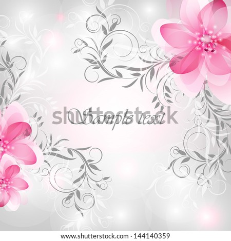 Wedding card or invitation with abstract floral background. Stylish floral retro background. - stock vector