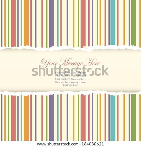 Wedding card or invitation with abstract striped colorful background - stock vector