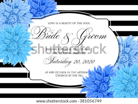 Wedding card or invitation with chrysanthemum flowers on striped background