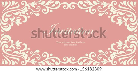 Wedding card or invitation with damask background