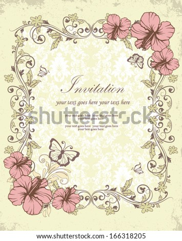Wedding card or invitation with floral background
