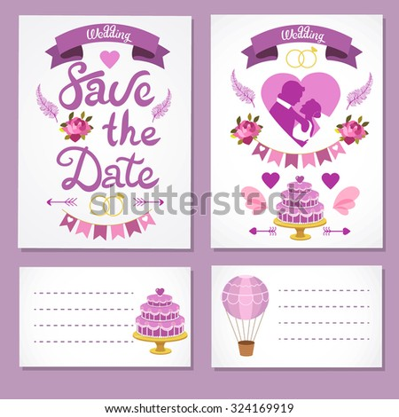 Wedding card vector set. Love design elements isolated. Save the date card. Wedding invitation card template. Wedding set, hearts, wreaths, ribbons, cake, balloon, ring. - stock vector