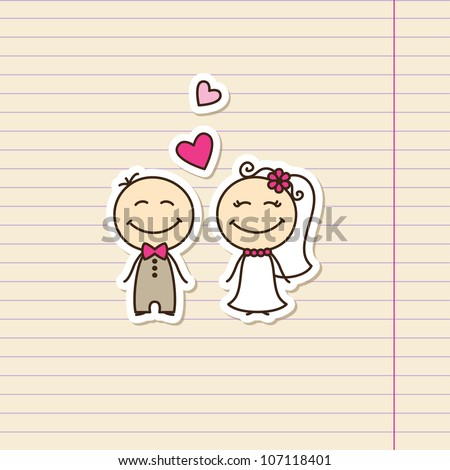 wedding card with cartoon groom and bride - stock vector