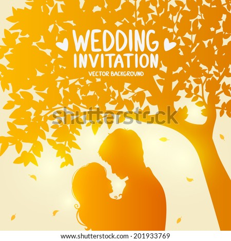 wedding card with romantic silhouette of loving couple at sunset under tree - stock vector
