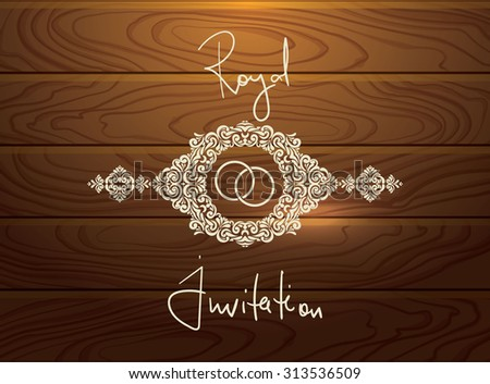 Wedding CARD with vintage Frame in wood textured vector background - stock vector