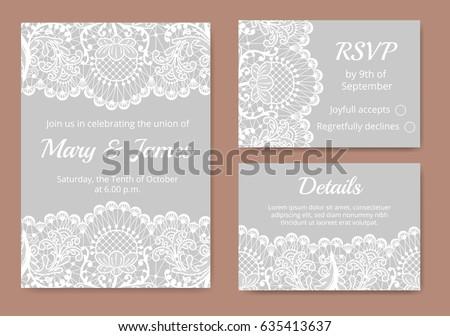 Wedding Cards Set White Lace Border Stock Vector 635413637