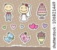 wedding cartoon paper stickers, vector design elements - stock vector