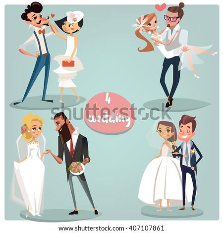 Wedding cartoon set: Brides and grooms couples - stock vector