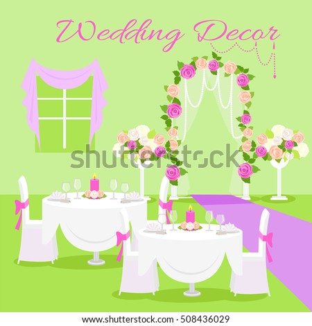 Wedding table flower vector stock images royalty free images wedding ceremony decor concept vector flat style composition in green and violet colors with junglespirit Image collections