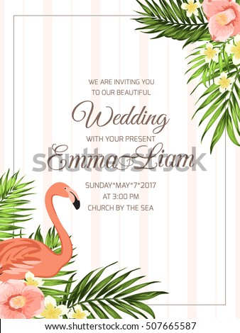Wedding Ceremony Invitation Template. Corner Frame With Flamingo Bird, Palm  Leaves, Camellia And  Ceremony Invitation Template