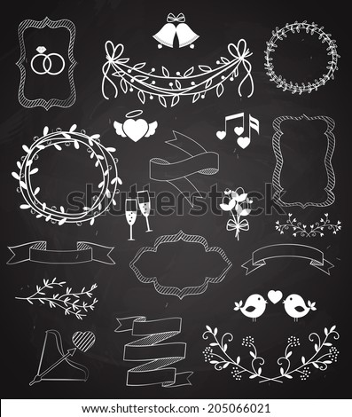 Wedding chalkboard Banners and Ribbons set with Arrow  hearts  frames  wreaths  swags  bells  birds  champagne  floral border  banner  ribbon  and rings   vector outline sketches - stock vector