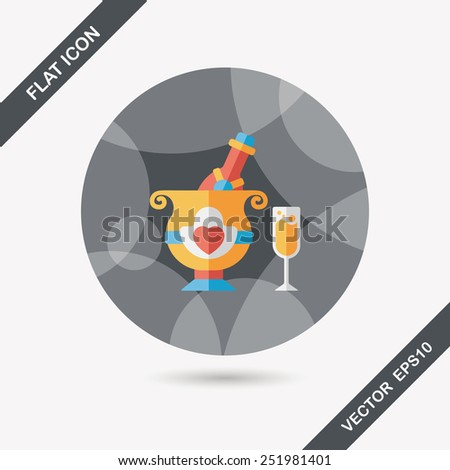 wedding champagne flat icon with long shadow,eps10 - stock vector