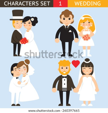 Wedding characters set flat desingn icons vector illustration - stock vector