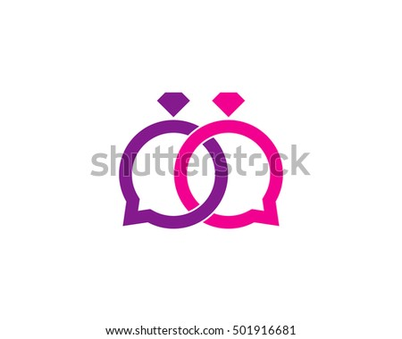 Wedding Chat Logo Design Template