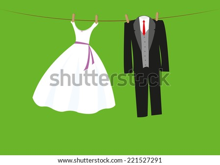 wedding clothes on the line - stock vector
