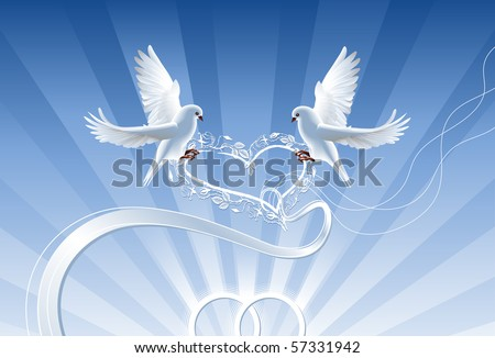 Wedding collage with wedding rings and two white doves, which hold the roses wreath. - stock vector