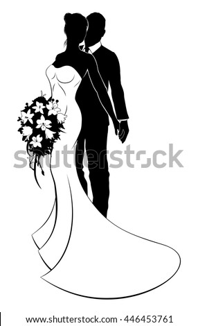 Wedding concept of bride and groom couple in silhouette, the bride in a white bridal dress gown holding a floral wedding bouquet of flowers - stock vector
