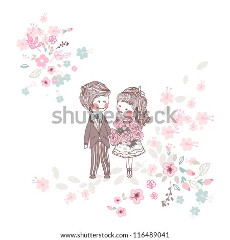 wedding couple - stock vector