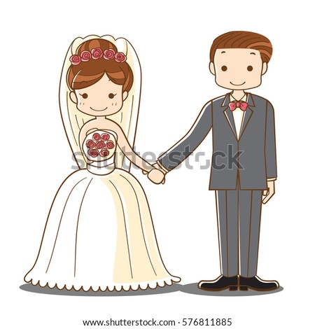 happy groom bride young married couple posing stock vector