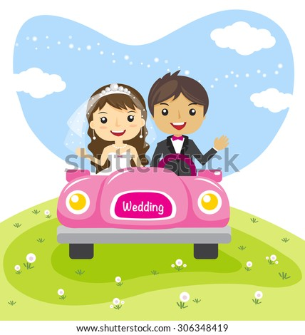 wedding couple in a car, cartoon married character design - vector illustration - stock vector
