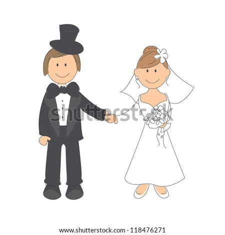 Wedding couple on white background. Hand drawing illustration.