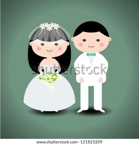 Wedding couple. Vector illustration - stock vector