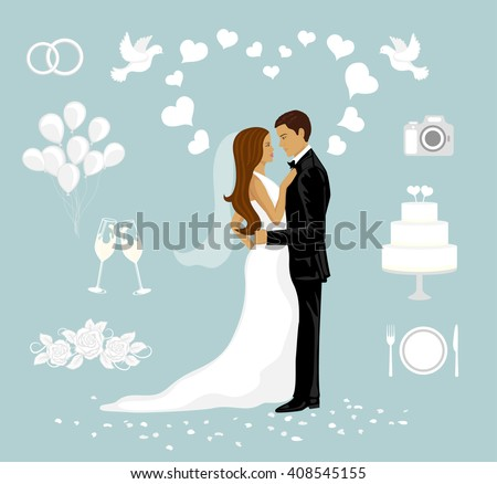 Wedding Couple Vector Illustration. Bride and Groom for Wedding Cards. White Pigeons, Ribbon, Flowers, Champagne Glasses, Balloons, Wedding Cake. Elements for Wedding Invitations and Announcements  - stock vector