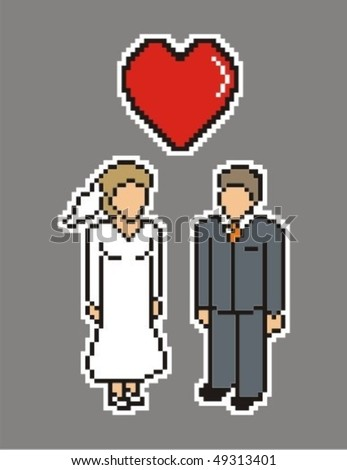 Wedding couple with heart. Vector pixel art style illustration. - stock vector